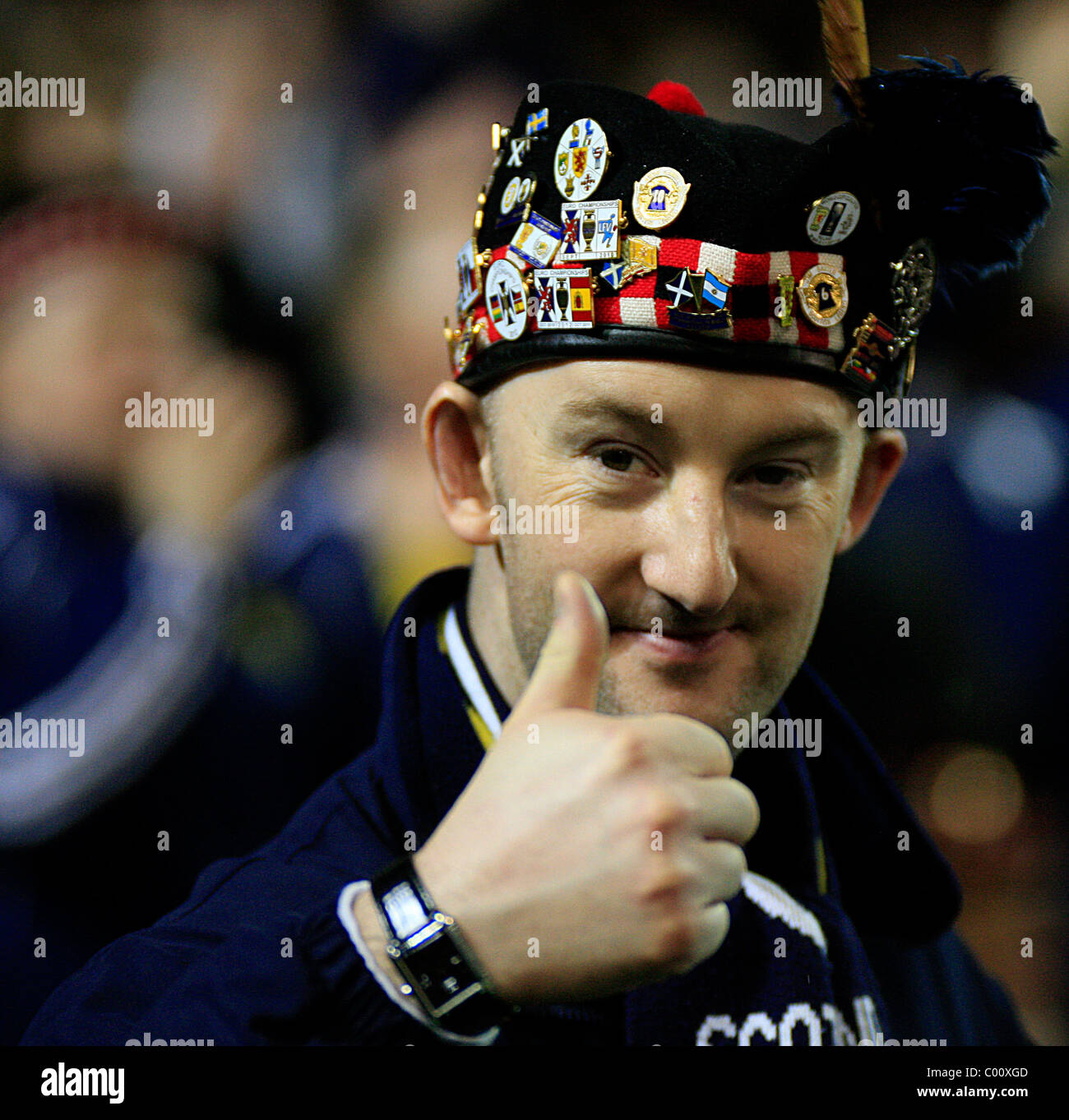 9th Feb 2011. Scottish Fans at the Carling Nations Cup 2011, Scotland Vs N. Ireland at the Aviva Stadium, Dublin. - Stock Image