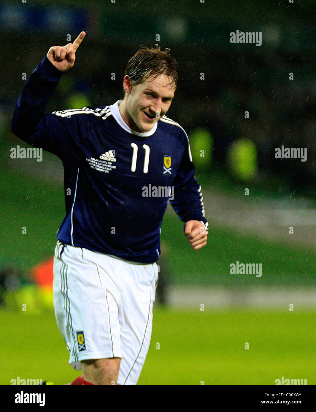 Kris Commons (Scotland) celebrates his goal after as Scotland went on to win 3-0. Carling Nations Cup 2011, Scotland - Stock Image