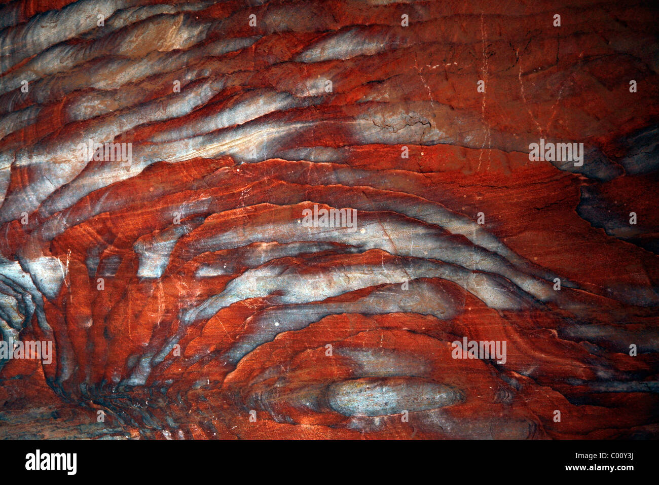Detail of a colorful sandstone, Petra, Jordan. - Stock Image