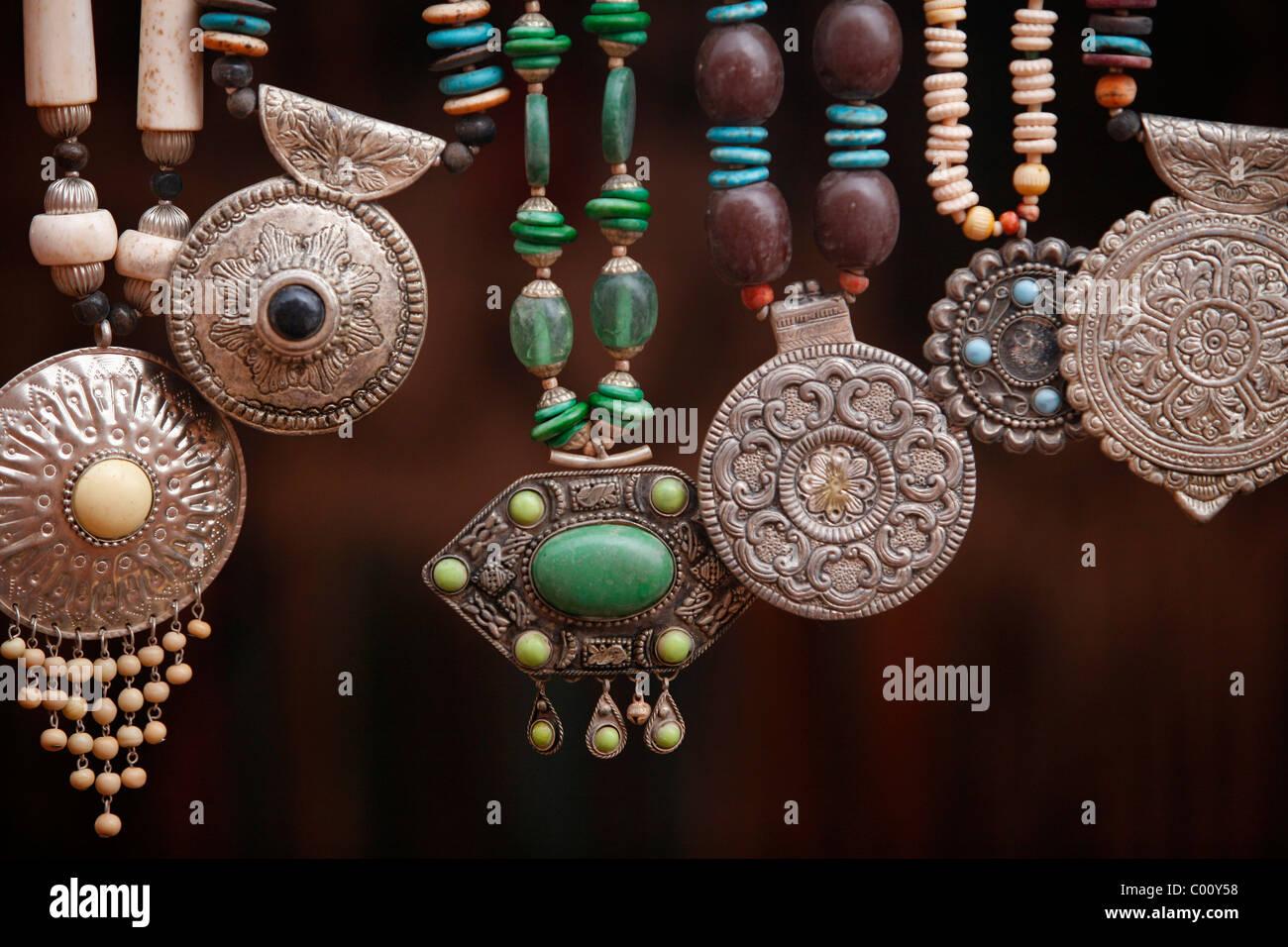 Bedouin silver jewellery, Petra, Jordan. - Stock Image