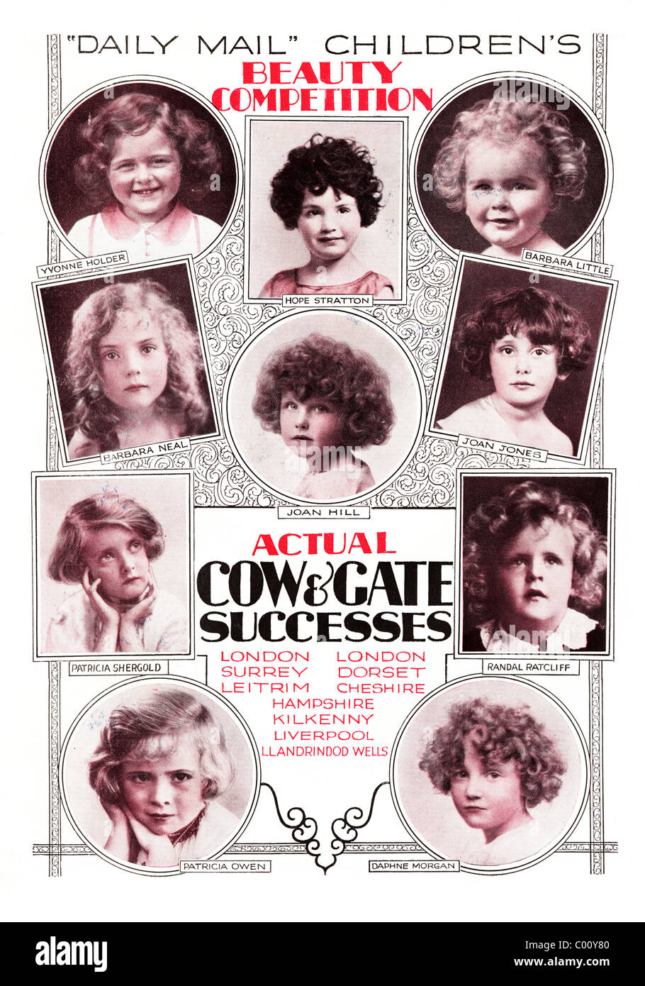advertisement 1920s full page in consumer magazine for DAILY MAIL CHILDREN'S BEAUTY COMPETITION - Stock Image