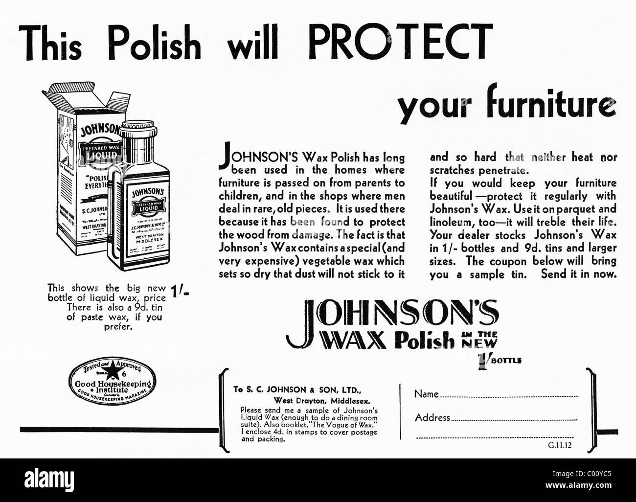 1920s advertisement in consumer magazine for JOHNSON'S WAX POLISH for furniture - Stock Image