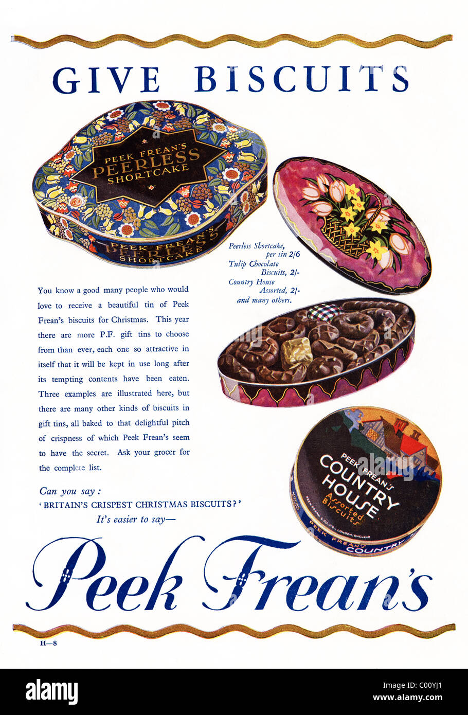 1920s full page advertisement in consumer magazine for PEAK FREEN'S Christmas biscuit selection - Stock Image