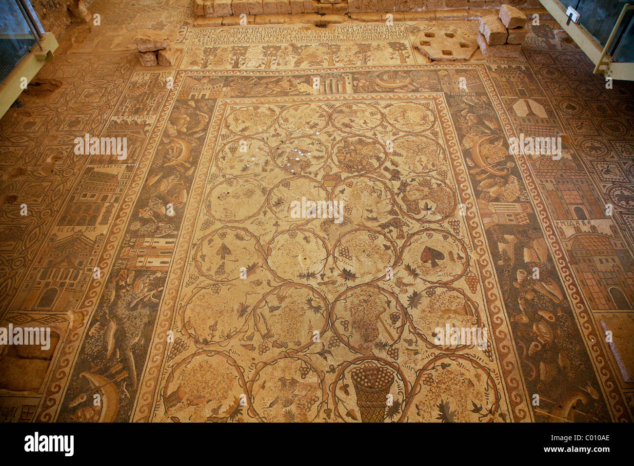 Mosaics at St. Stephen church in Umm Ar-Rasas, Jordan. Stock Photo
