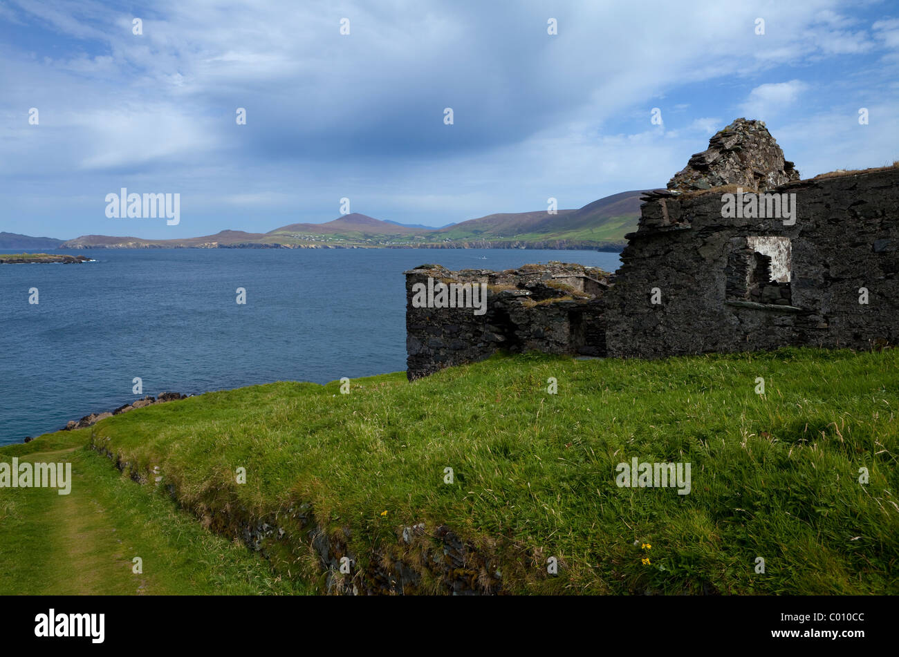 Evacuated Cottages on Great Blasket Island, The Blasket Islands, Off Slea Head on the Dingle Peninsula, County Kerry, Stock Photo