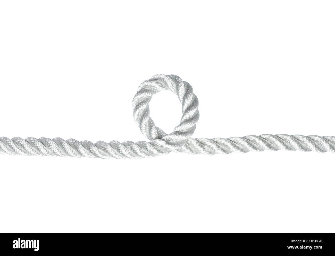 Nylon rope with a loophole isolated on white - Stock Image