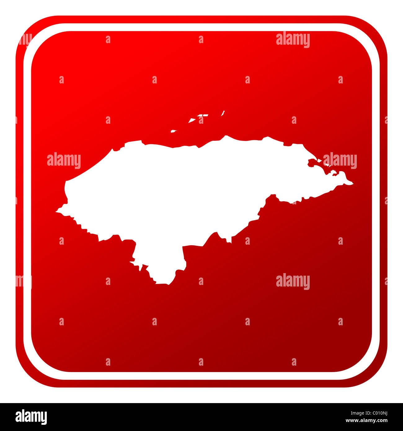Honduras red map button isolated on white background. Stock Photo