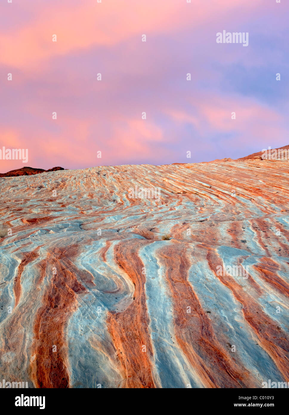 Bands of striated, colorful rocks. Valley of Fire State Park, Nevada - Stock Image