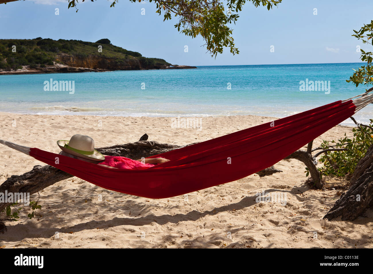 Hammock on La Playuela beach at Cabo Rojo wildlife preserve Puerto Rico - Stock Image