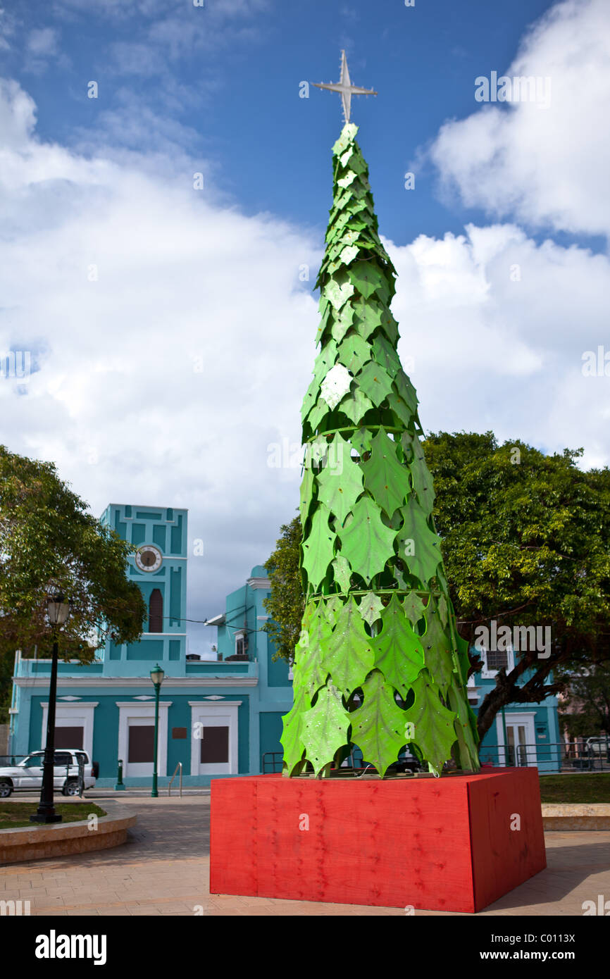 christmas tree decoration in the isabel segunda town square on vieques island puerto rico