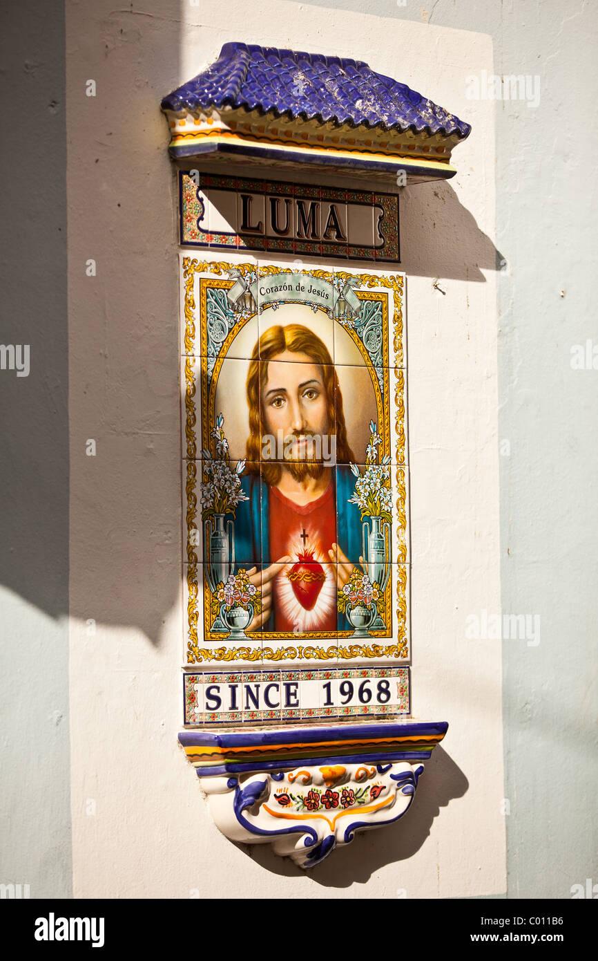 Jesus Christ Mosaic Marking Calle Luma In Old San Juan Puerto Rico