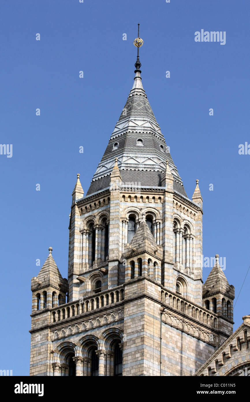 London Museum of Natural History tower close-up - Stock Image