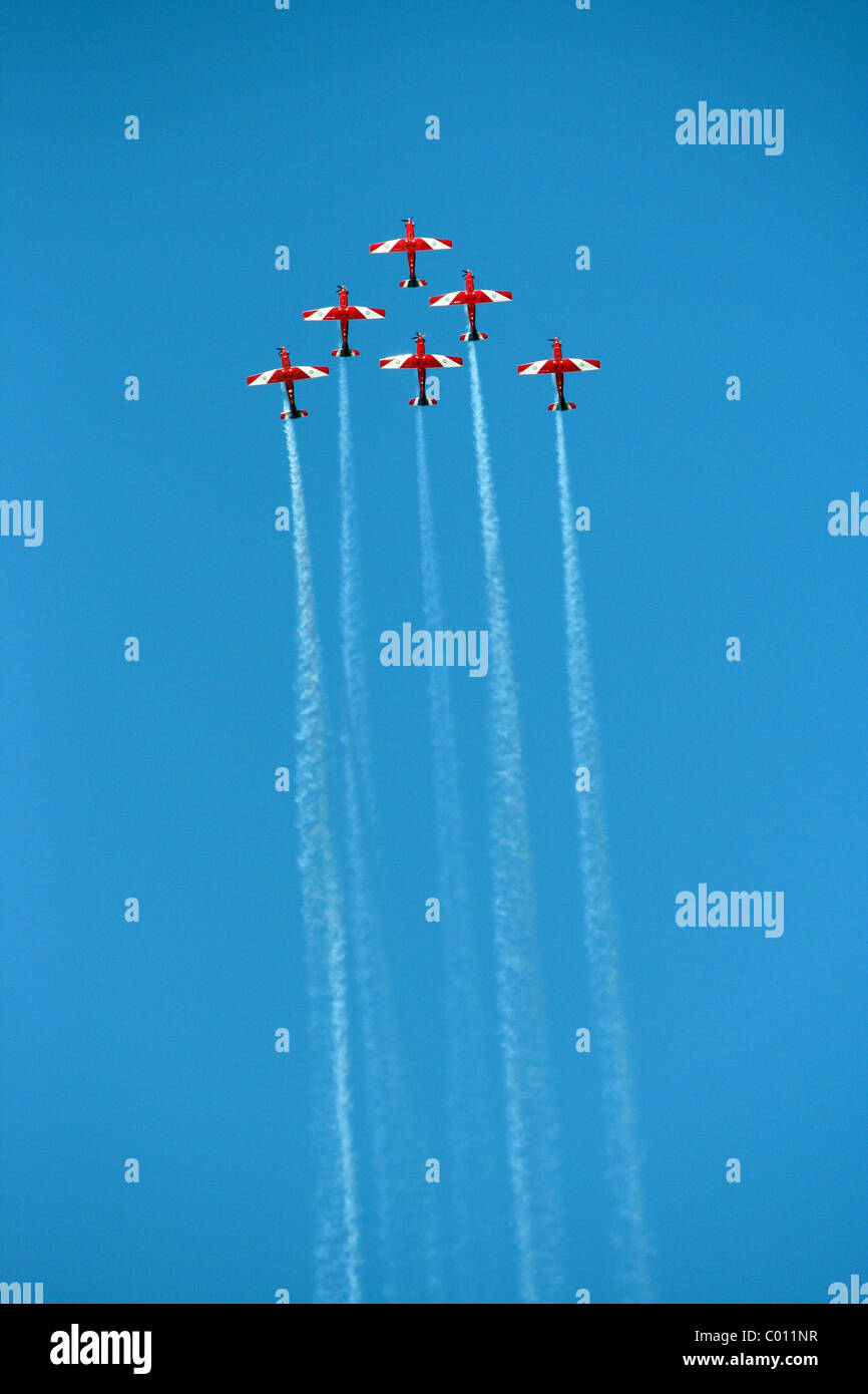 The Roulettes aerobatics team of the Royal Australian Air Force performing for the Australia Day celebrations over - Stock Image