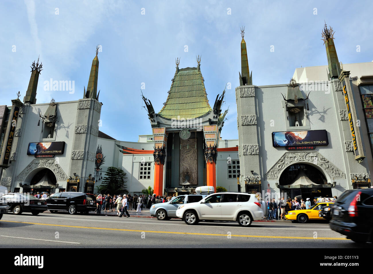 HOLLYWOOD - April 2: The legendary Grauman's Chinese Theatre in Hollywood is a must-see for tourists, seen here - Stock Image