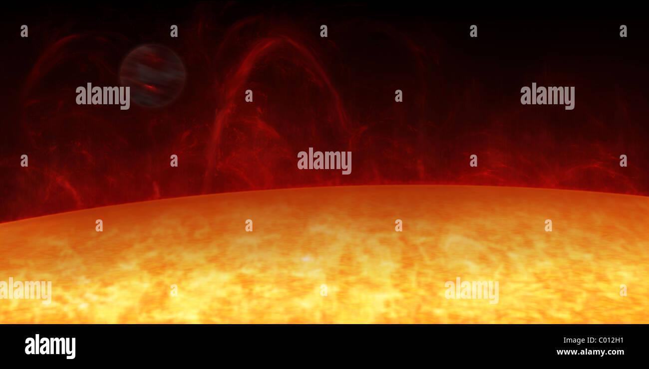Artist's concept of a Hot Jupiter orbiting a star named 51 Pegasi. - Stock Image