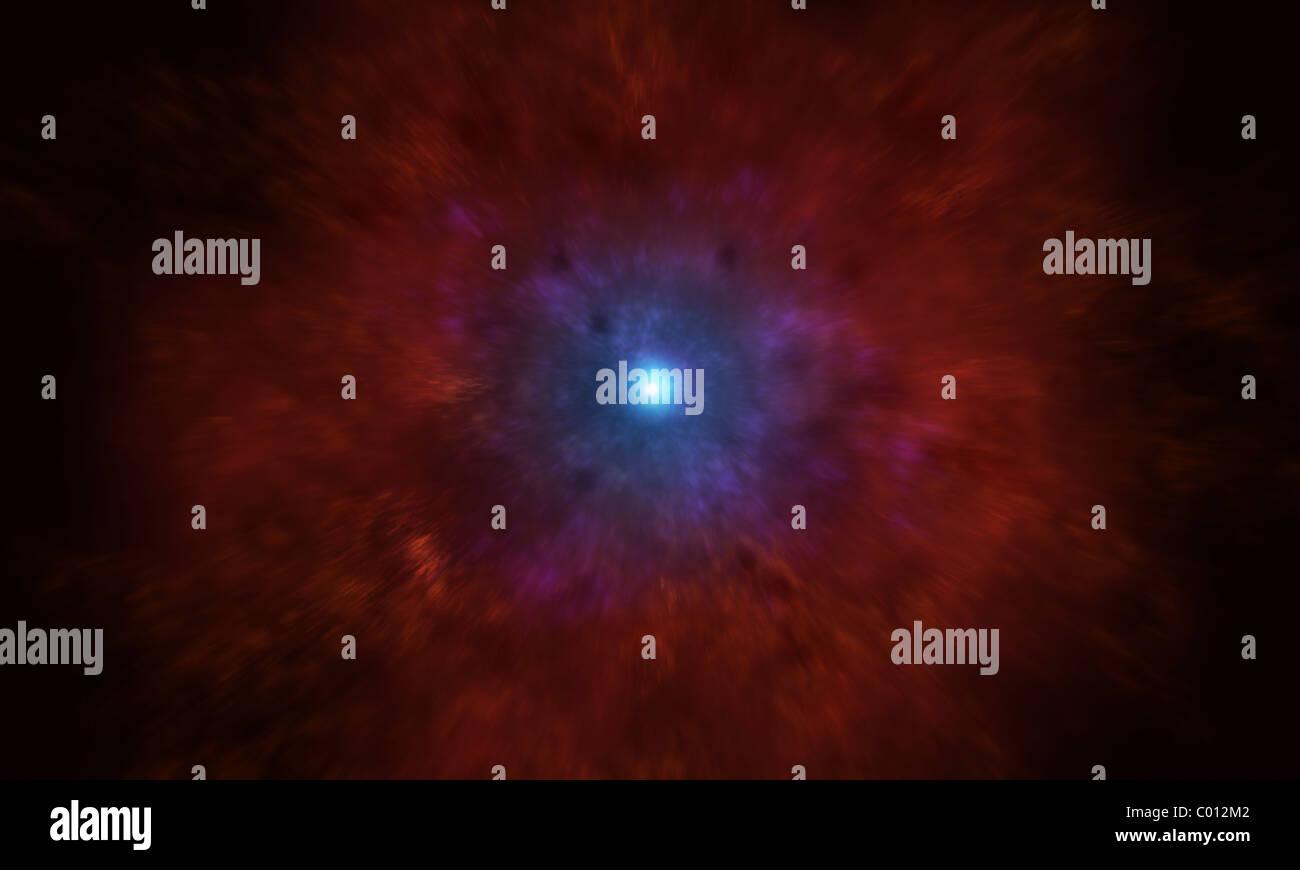 Illustration of a massive star going supernova. - Stock Image