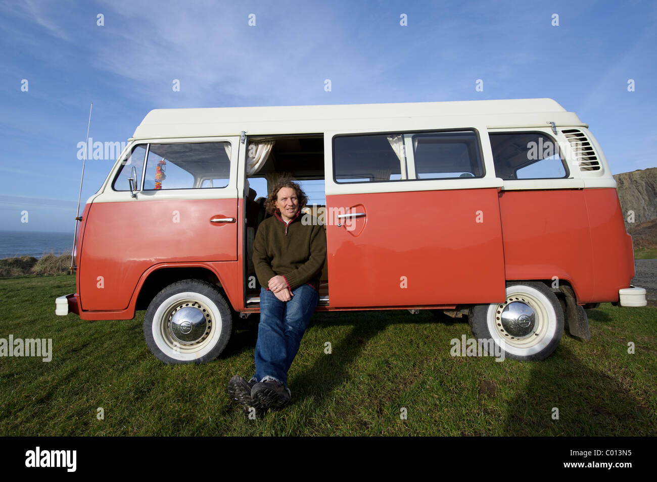 """Martin Dorey with his van in which he is travelling around the UK as part of a BBC2 series called """"One Man and His - Stock Image"""