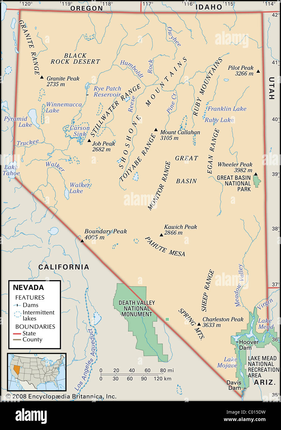 Physical map of Nevada Stock Photo: 34446997 - Alamy