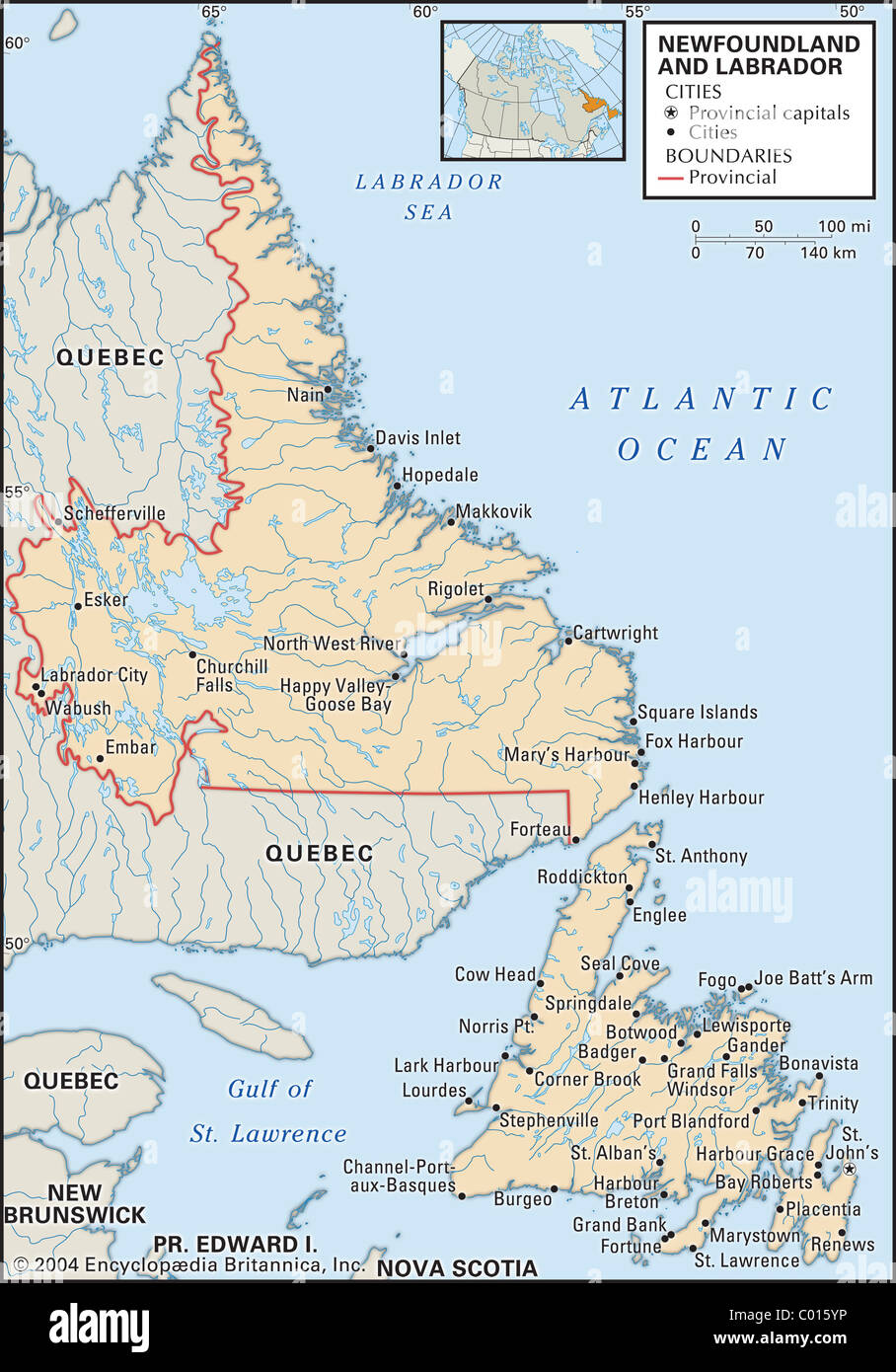 Newfoundland Canada Province Map Stock Photos Newfoundland Canada