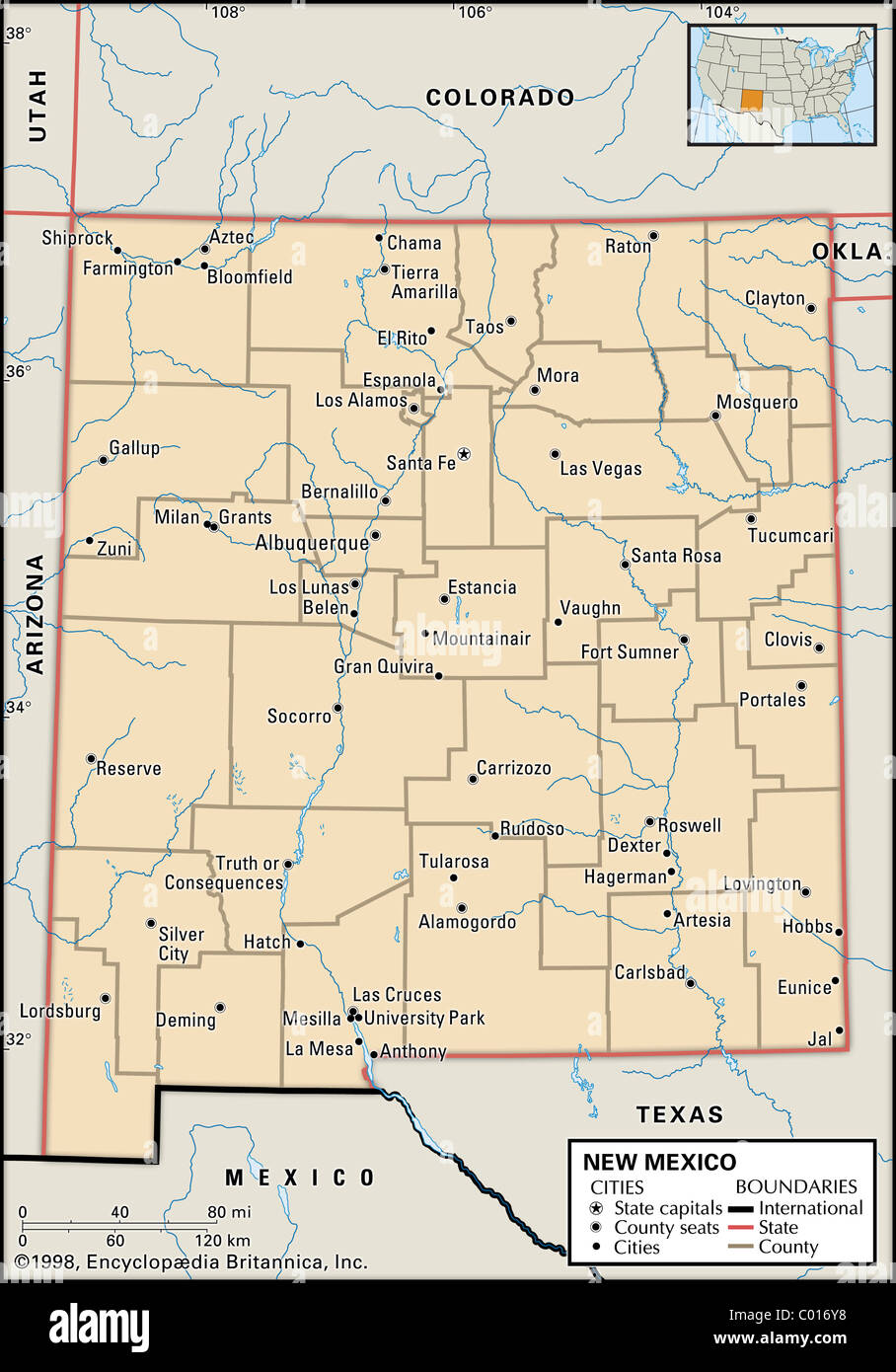 Political Map Of New Mexico Stock Photo 34448156 Alamy