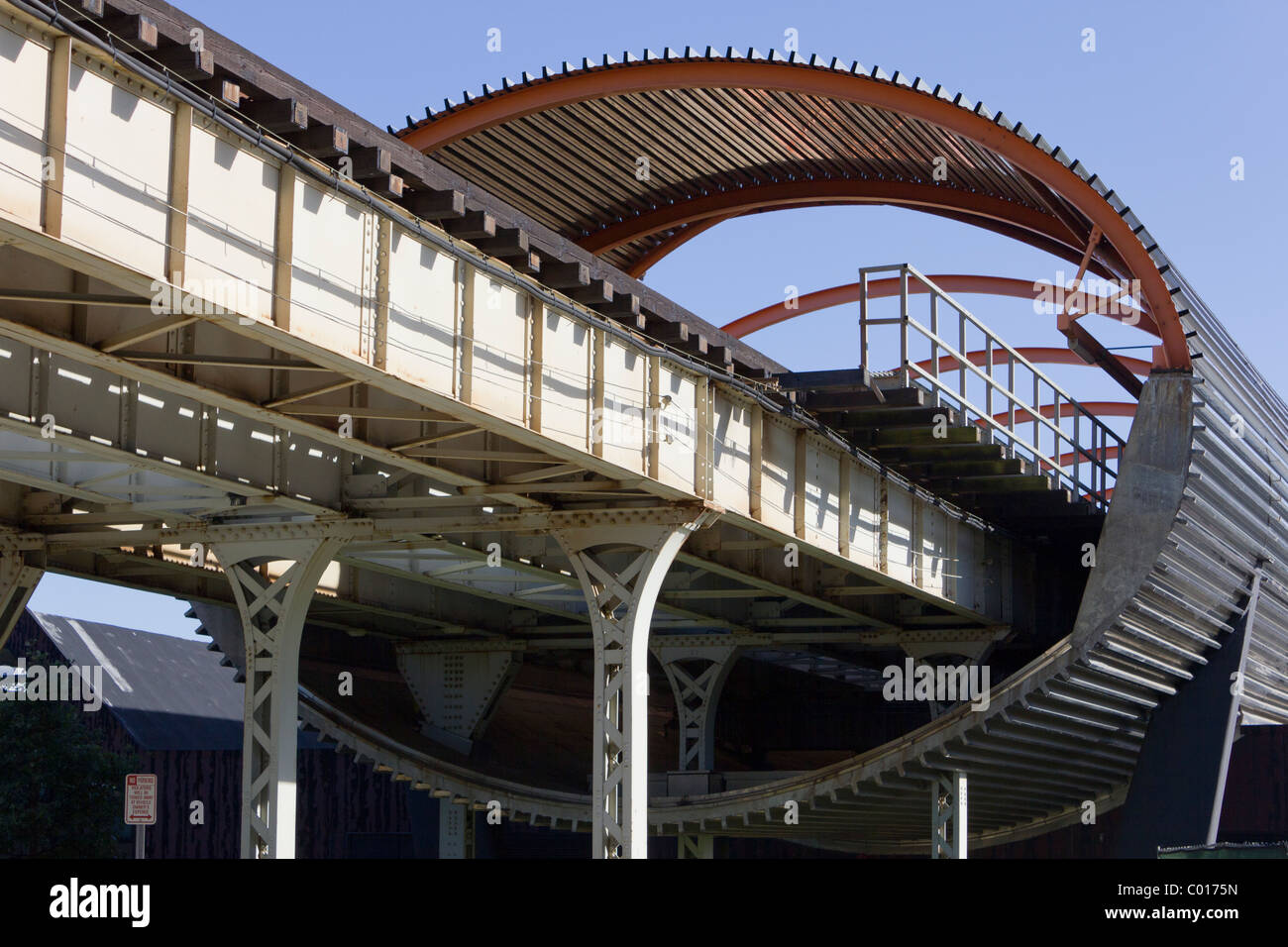 enclosed subway track at McCormick Tribune Campus Center, Illinois Institute of Technology, Chicago, USA - Stock Image