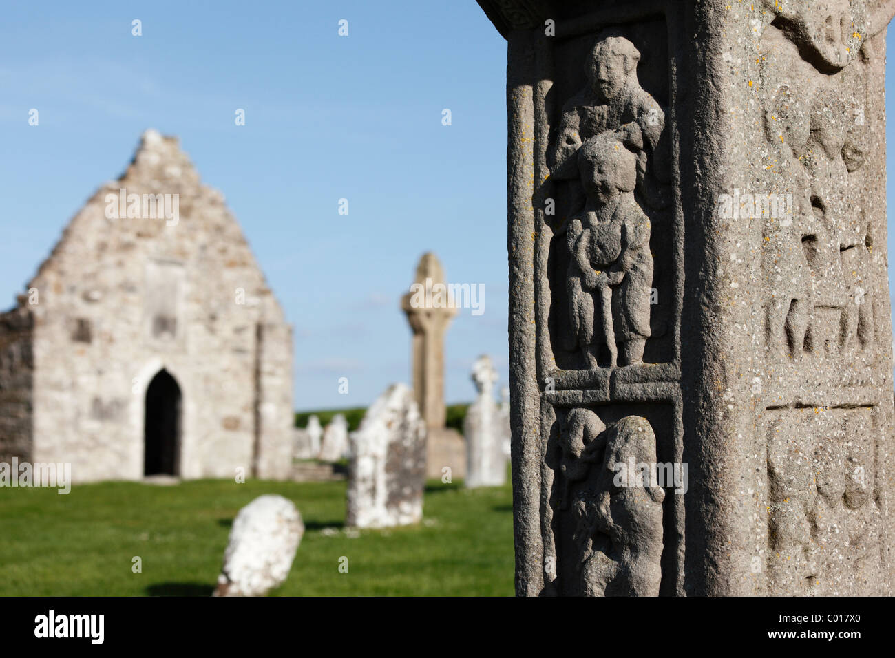 Detail of the copy of Cross of the Scriptures, a high cross in Clonmacnoise Monastery, County , Leinster, Republic - Stock Image