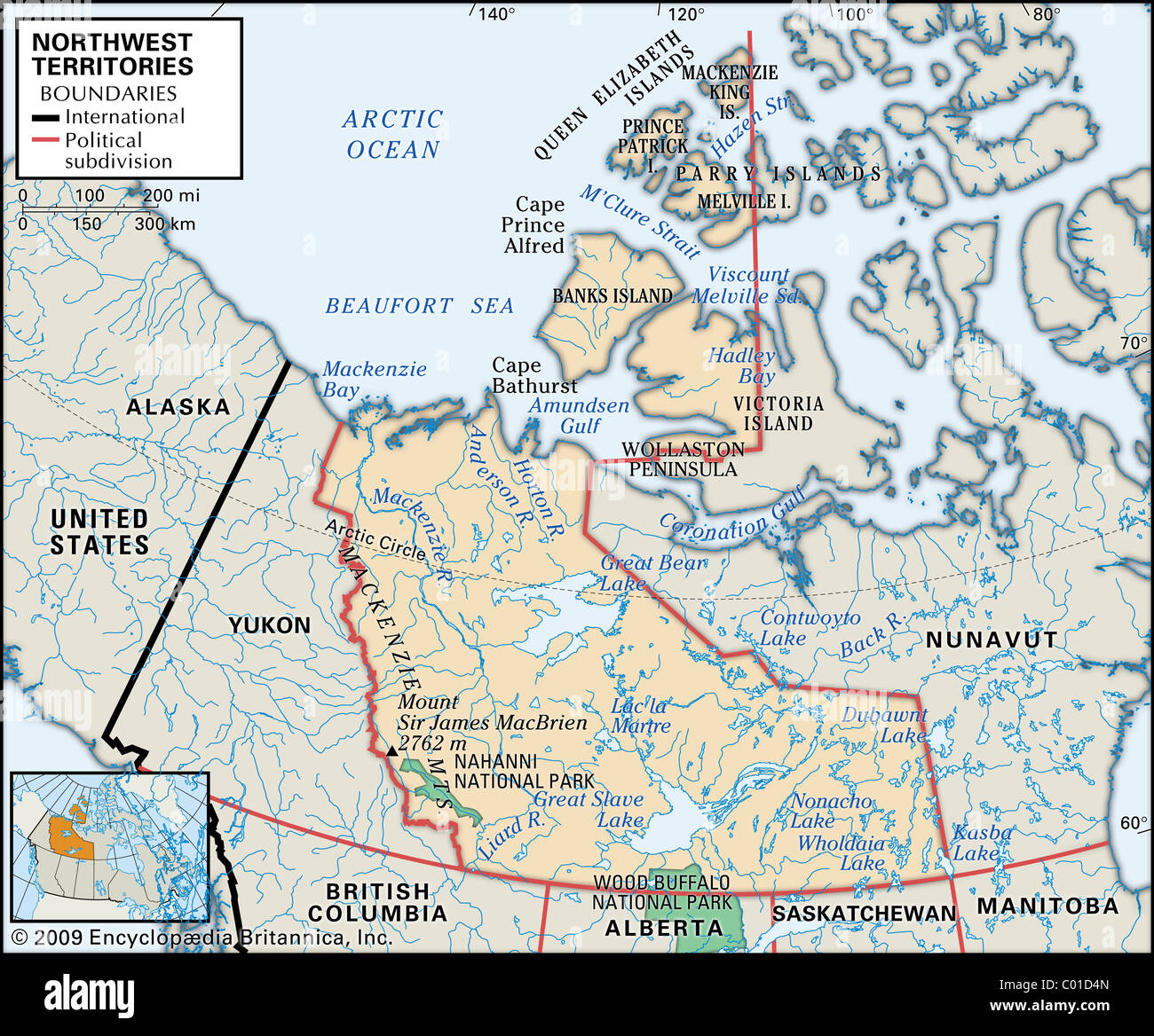 Physical map of Northwest Territories Stock Photo: 34453013 - Alamy