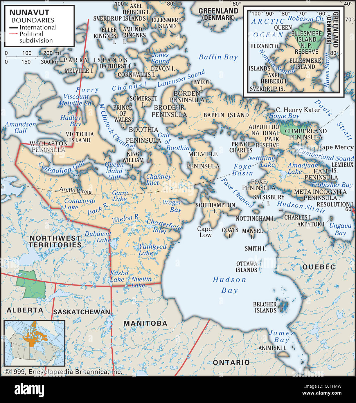 Physical map of Nunavut Stock Photo