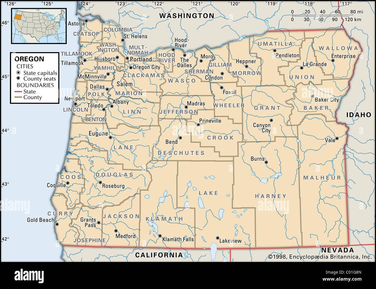 Political Map Of Oregon Stock Photo 34455477 Alamy