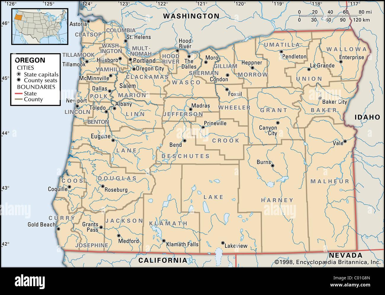 Political map of Oregon Stock Photo: 34455477 - Alamy