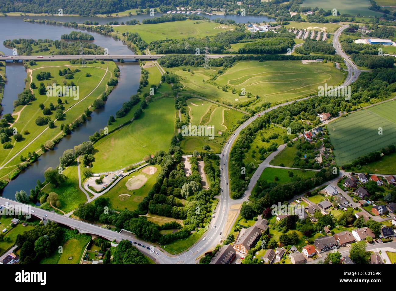 Aerial view, golf course, Deponie Heven landfill, Seestrasse street, Witten, Ruhrgebiet area, North Rhine-Westphalia - Stock Image