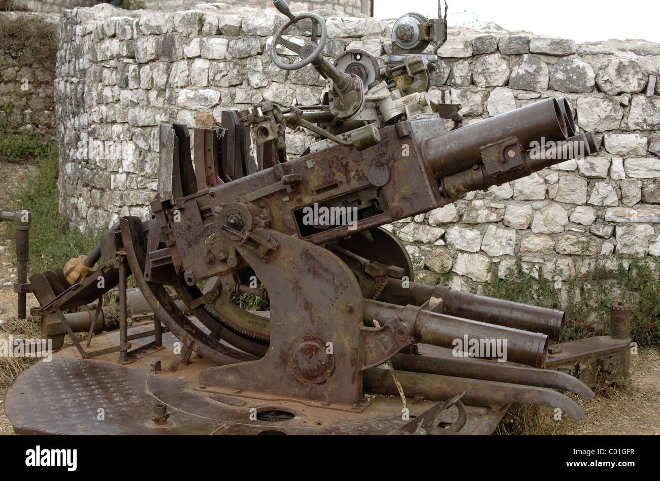 Cannon of the Second World War. Lekuresi Castle. Saranda. Albania. - Stock Image