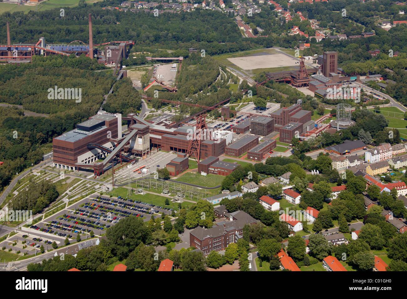 Aerial view, Zollverein Coal Mine Industrial Complex, design school, Saana building, World Cultural Heritage site, - Stock Image