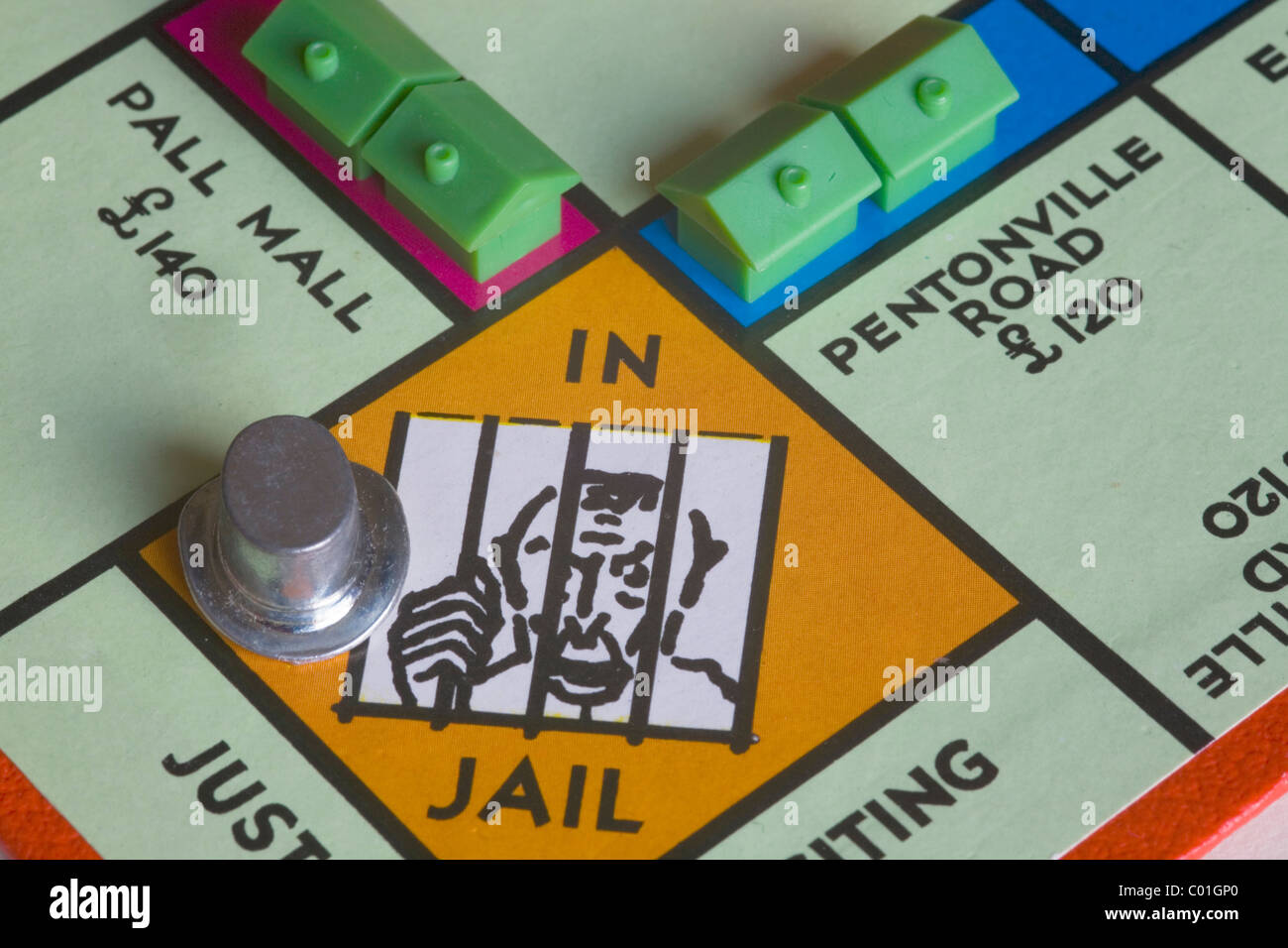 monopoly board game in Jail - Stock Image