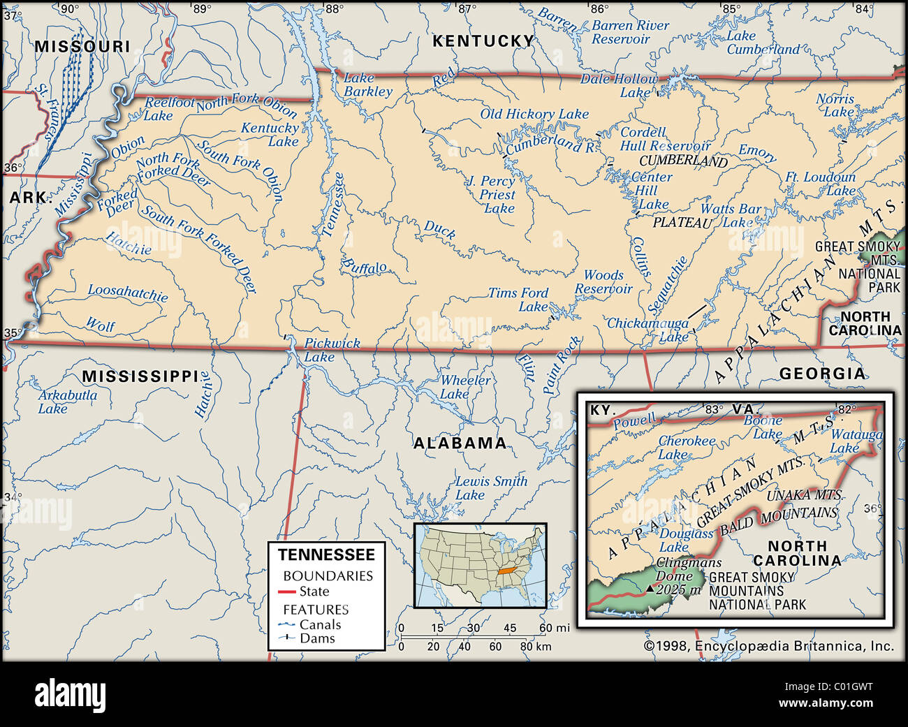 Physical map of Tennessee Stock Photo: 34455956 - Alamy