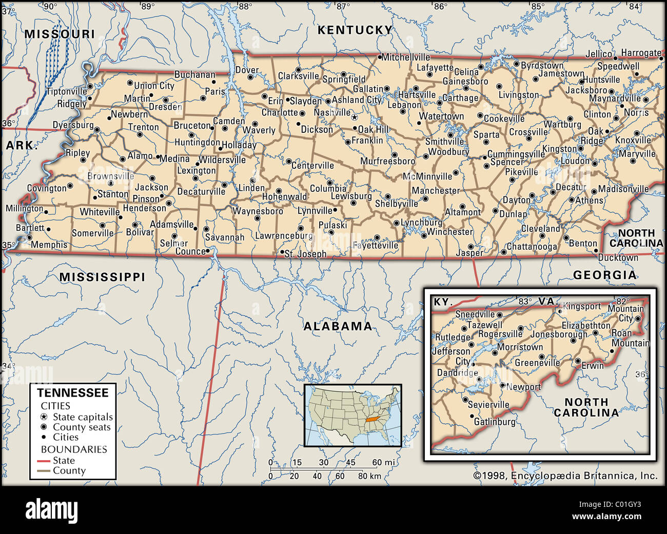 Political map of Tennessee - Stock Image