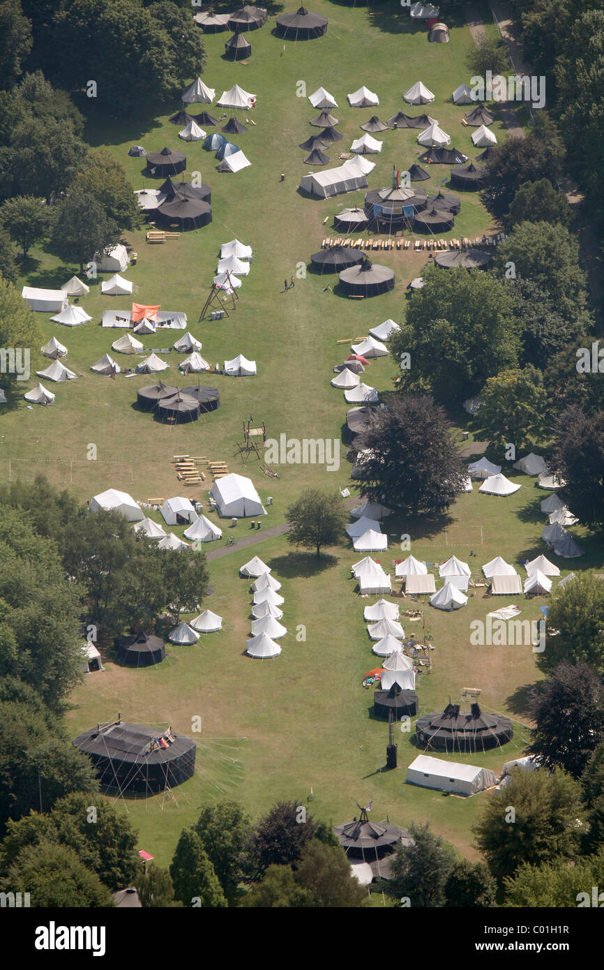 Aerial view, German Scout Association Saint George, DPSG, European Scout Jamboree, ruhrjamb.2010, during European - Stock Image