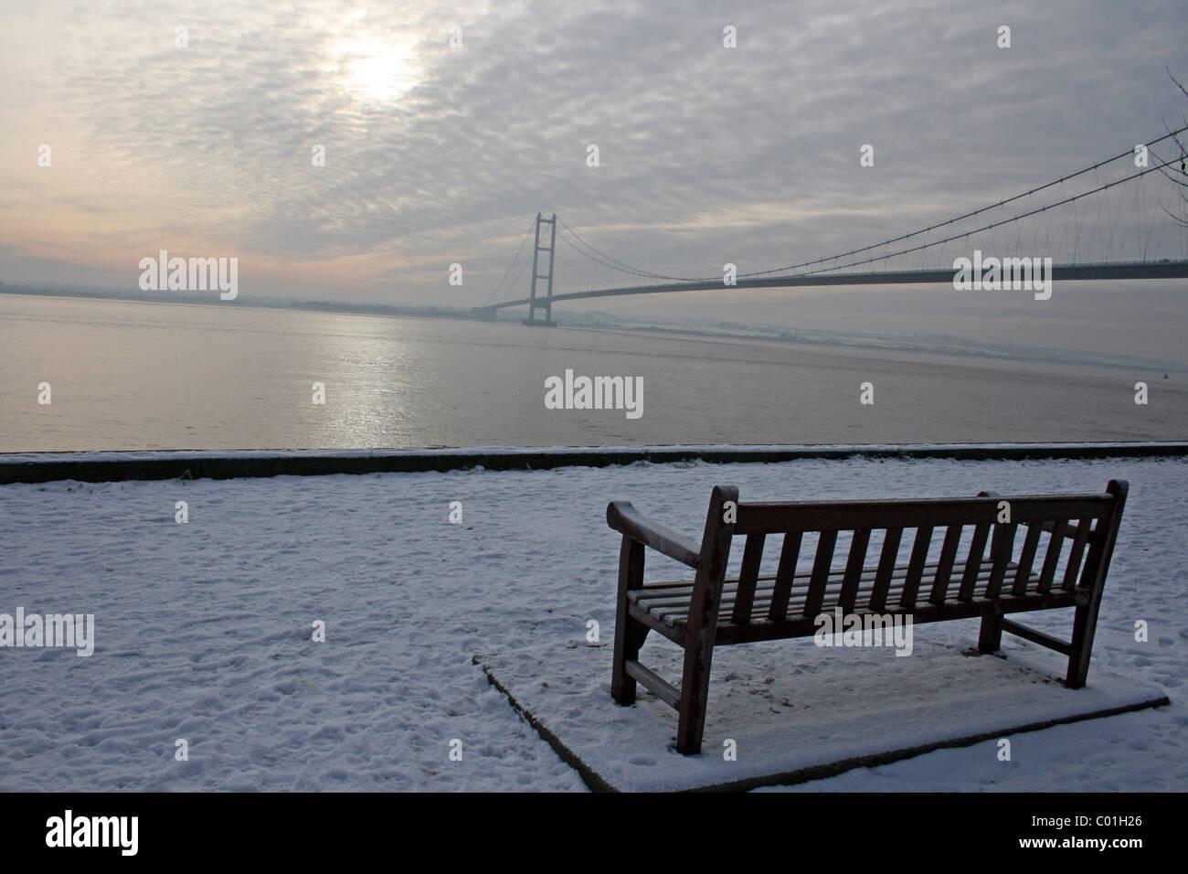 Wintery Scene At The Humber Bridge, Yorkshire, UK - Stock Image