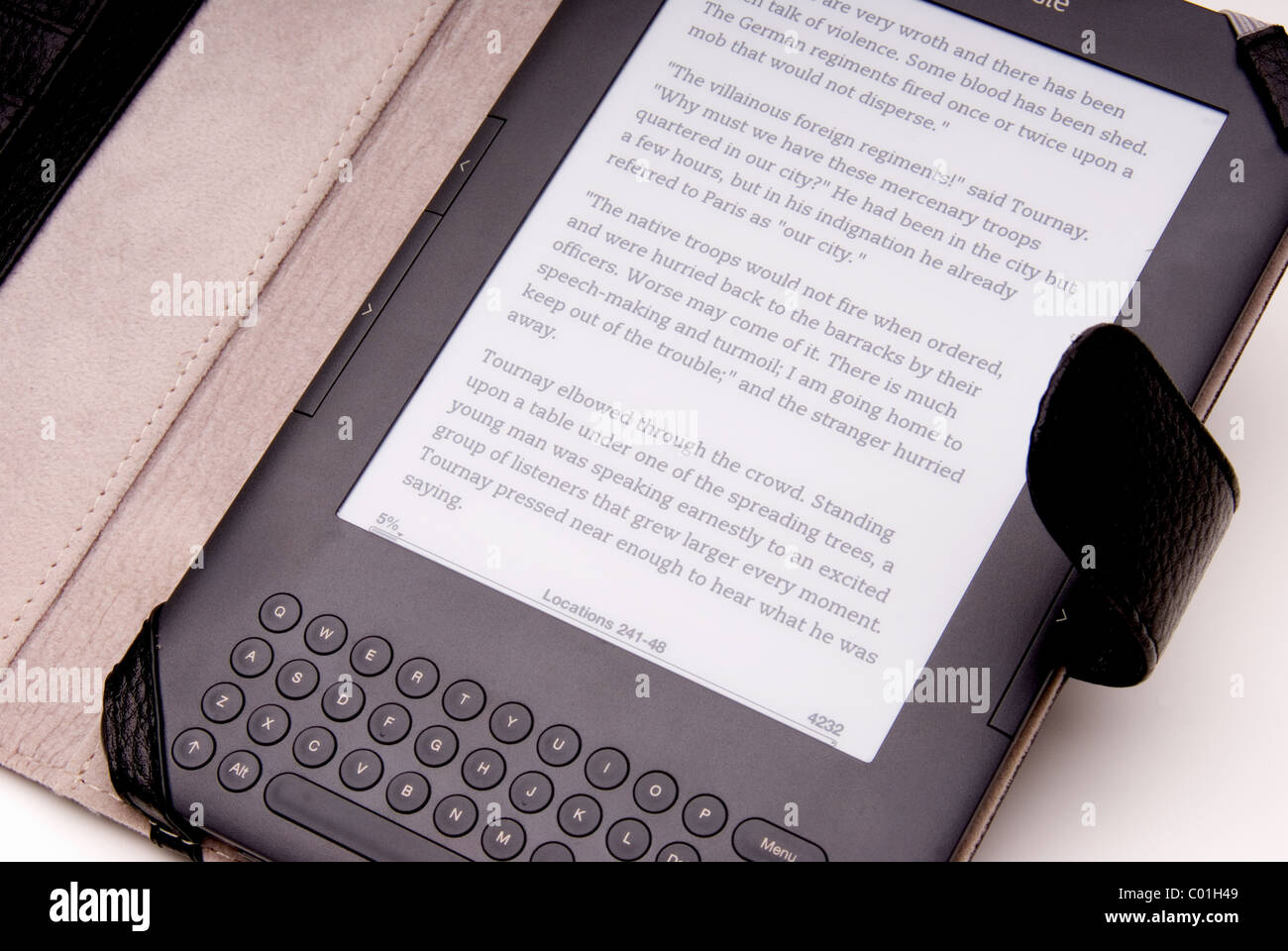 Close up of a kindle ebook reader. - Stock Image