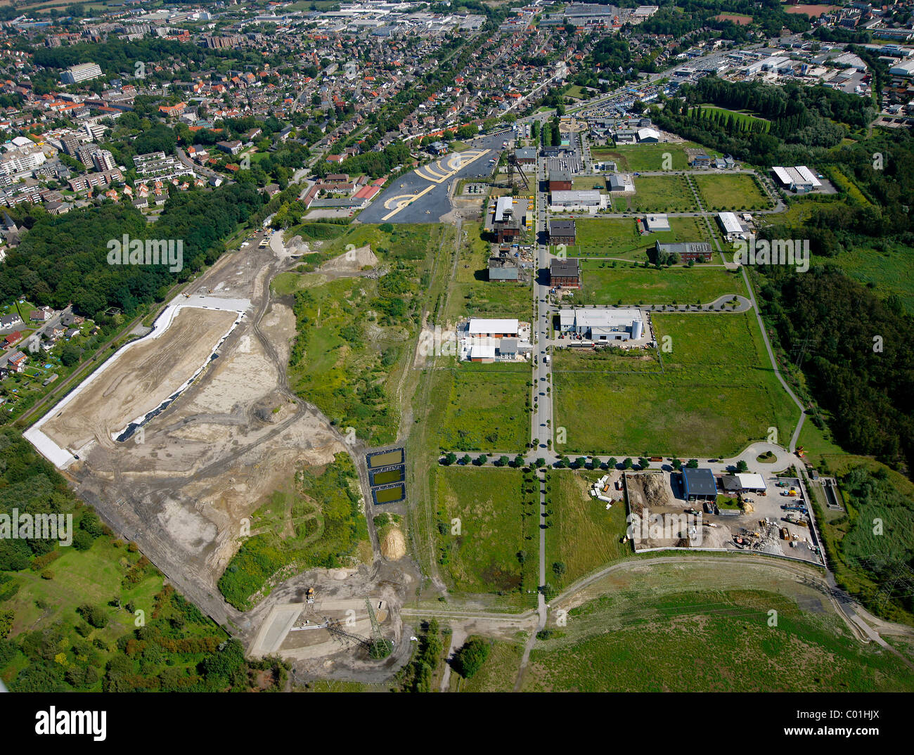Aerial view, VW Potthoff car dealer, Radbod coal mine, former colliery site, Hamm, Ruhr area, North Rhine-Westphalia - Stock Image