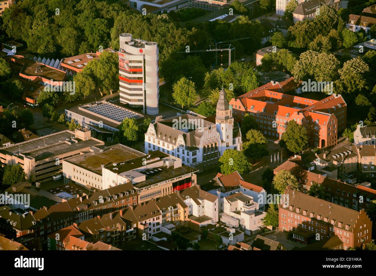 Aerial view, town hall, Gladbeck, Ruhrgebiet area, North Rhine-Westphalia, Germany, Europe - Stock Image