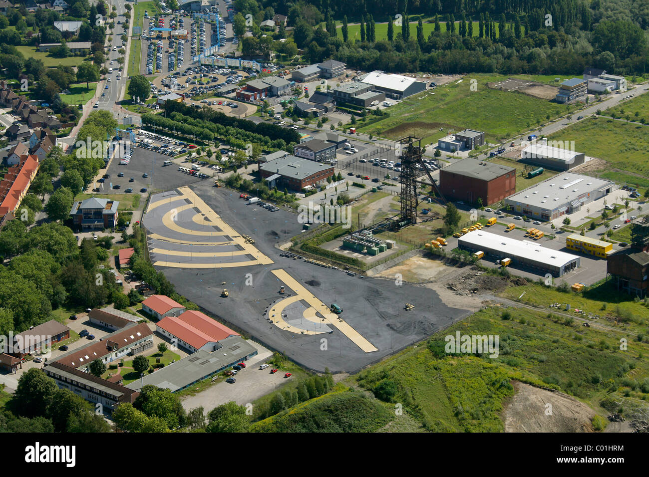 Aerial view, VW Potthoff car dealer, Radbod coal mine, former colliery site, Hamm-Bockum-Hoevel district, Hamm, - Stock Image
