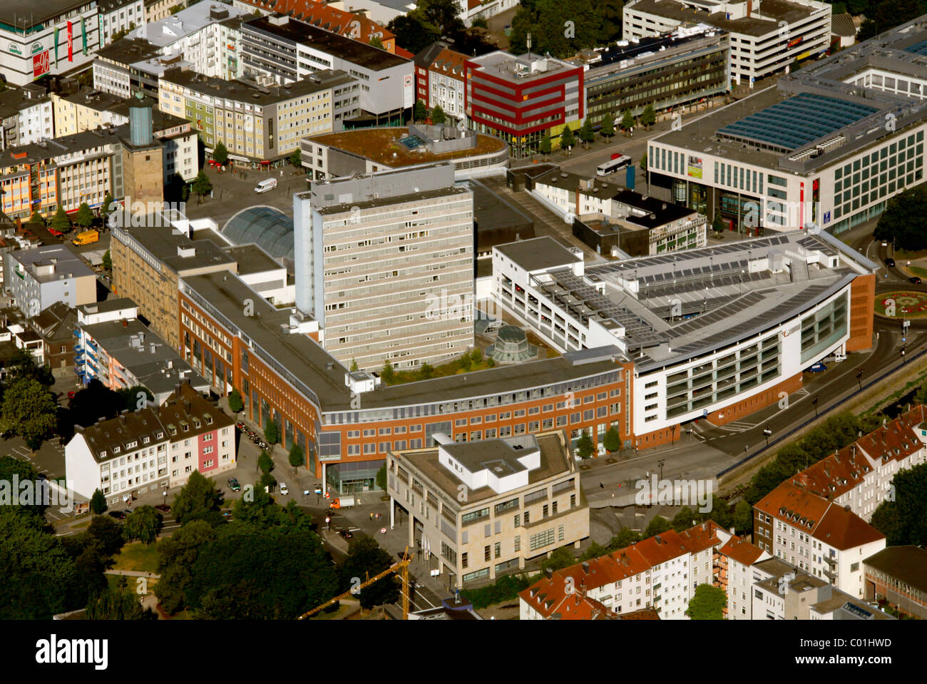Aerial view, Citygalerie building, Mitte district, town centre, Hagen, Ruhrgebiet area, North Rhine-Westphalia, - Stock Image
