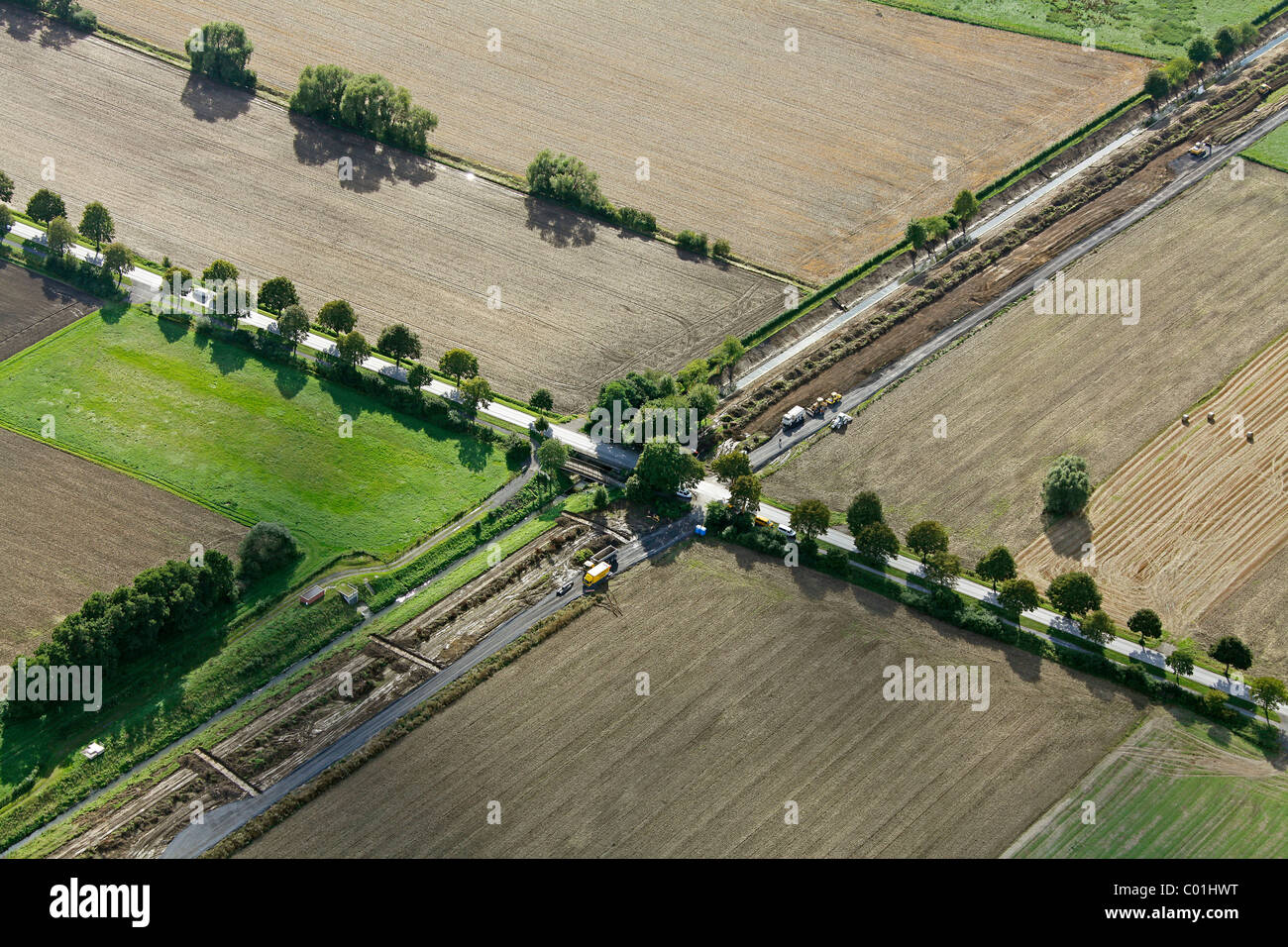 Aerial view, SesekeKunst art project, Reservat art project, Markus Ambach, flora and fauna park, art works on the - Stock Image