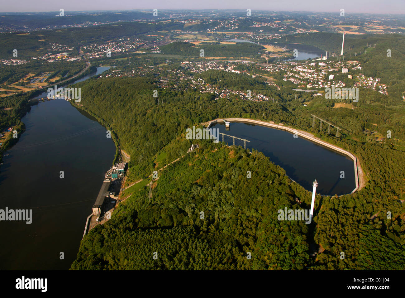 Aerial view, Koepchenwerk pumped-storage plant with reservoirs owned by RWE, a German electric power company, Ruhr - Stock Image