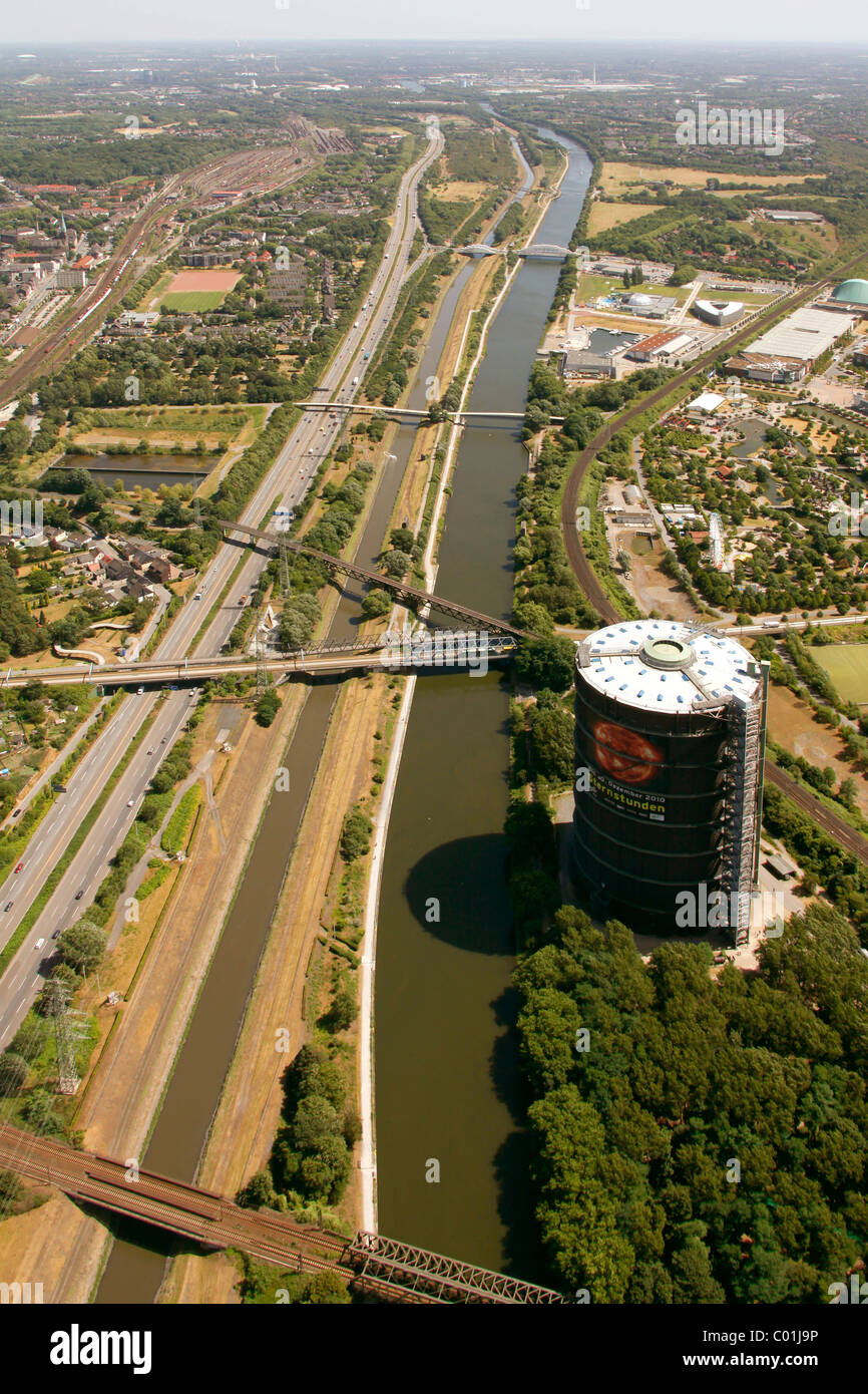 Aerial view, former steelwork grounds, Neue Mitte Oberhausen commercial development area, Centro shopping mall, - Stock Image