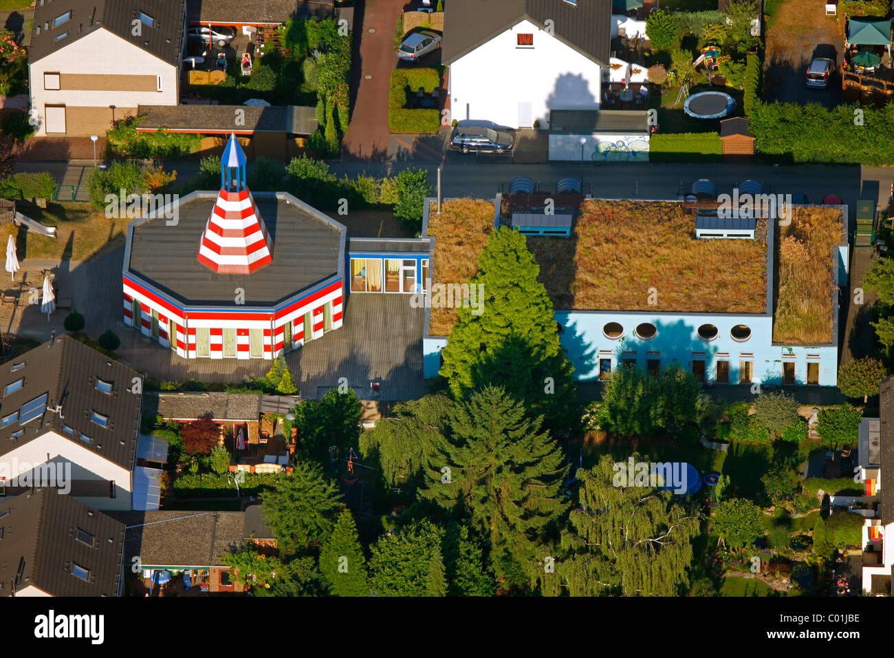 Aerial view, Kindergarten, Schwerte, Ruhrgebiet area, North Rhine-Westphalia, Germany, Europe - Stock Image