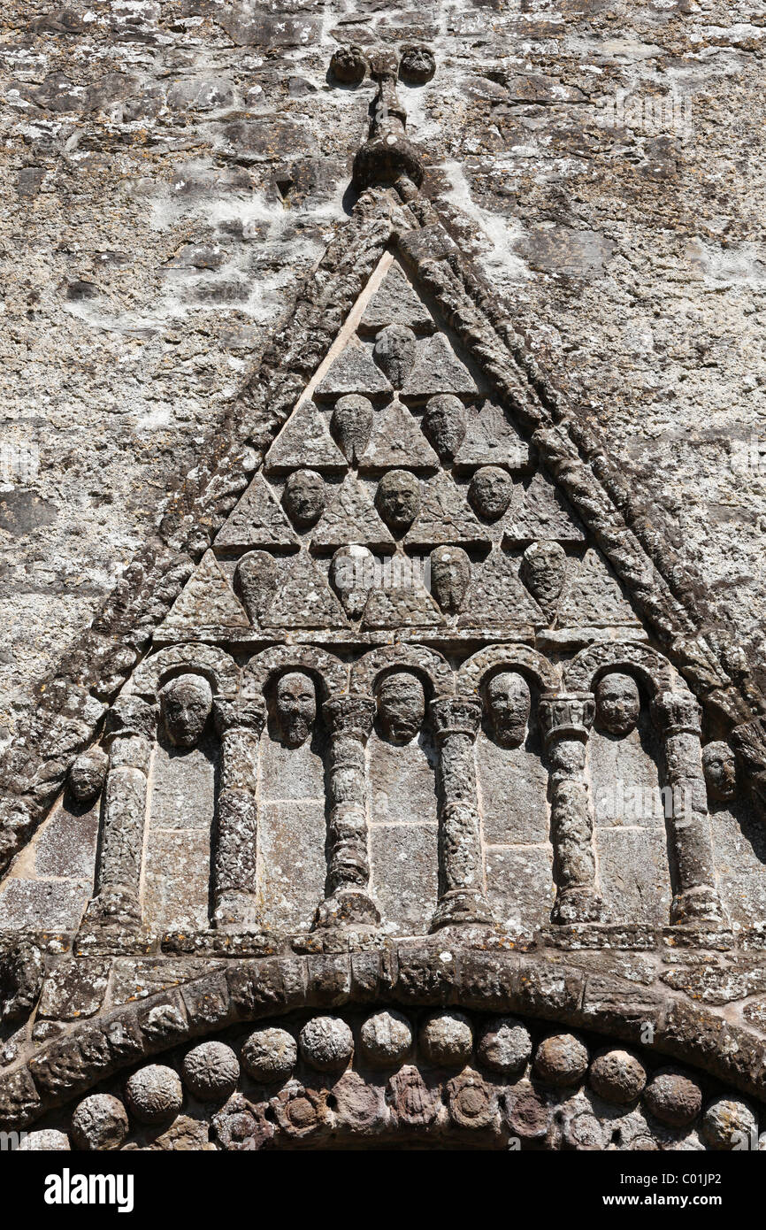 Triangular pediment on a portal, Cathedral of St. Brendan, Cathedral of Clonfert, County Galway, Connacht province - Stock Image