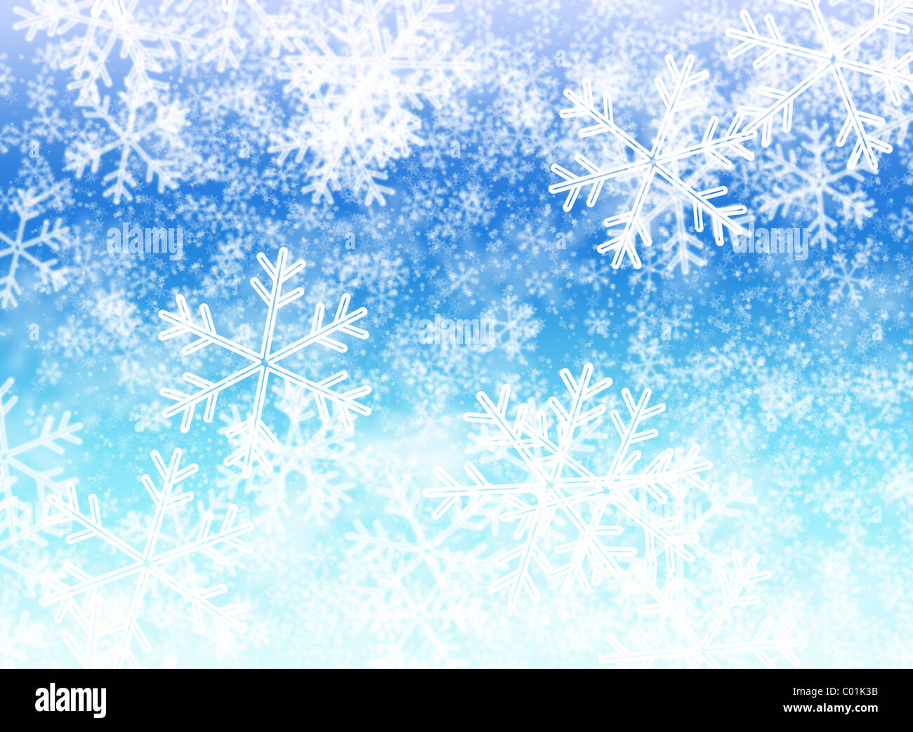 White snowflakes, blurred background - Stock Image