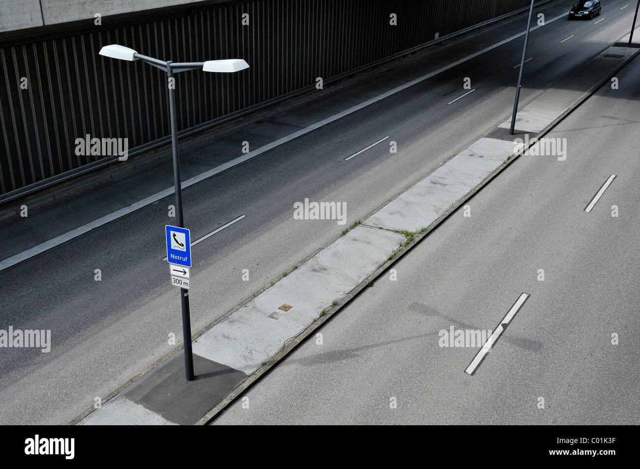 Tegernseer Landstrasse, lowered road, Harlaching, Munich, Bavaria, Germany, Europe - Stock Image